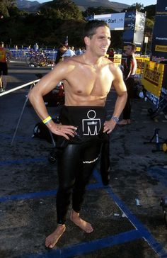Jim Caviezel, competing in a triathlon, wearing a wetsuit, a.k.a. that time I was jealous of the ocean and a bike.