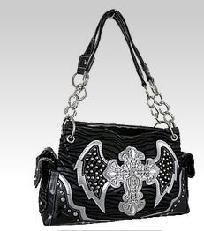 BLACK Bling Rhinestone Cross Zebra Angel Wings Chain Handle Purse HOT