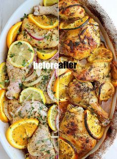 Herb Citrus Roasted Chicken Review: WOW! 5 stars! My new go-to chicken recipe. This was flavorful and fresh tasting. My changes: I used chicken breasts cut in half instead of legs/thighs as the recipe calls for. Next time, I would double the marinade because it makes for a wonderful sauce to spoon over the chicken. Try this one, you'll love it!