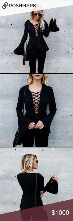 🖤Last one🖤Lace up Bell Sleeve Top Brand new sexy black Lace up Bell Sleeve Top. Trendy and Stylish! These do run a bit small. If you are a true medium I would size up to the M/L.  These do have a lot of stretch to it too. Please see size chart for measurements. Tops Blouses