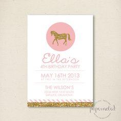 Girl Vintage Horse Birthday Invitation // Pink and Gold Party // Horse Party // Birthday Invitation  // DIY Printables on Etsy, $15.00