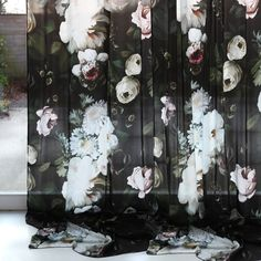 Ellie Cashman Dark Floral Curtains on silk charmeuse. Photo & Styling by Ellen Mesu. Gold Curtains, Drop Cloth Curtains, Burlap Curtains, Floral Curtains, Velvet Curtains, Hanging Curtains, Floral Fabric, Floral Prints, Country Curtains