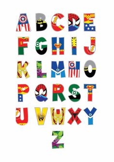 Superhero Alphabet And Number Prints Playroom by ElephantLoveUk