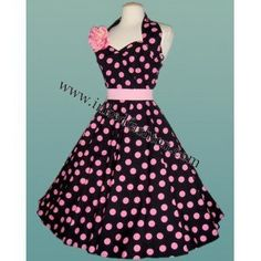 Rockabilly Clothing,Dress Black with Pink Dots