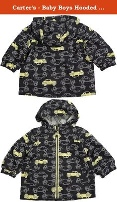 Carters - Baby Boys Hooded Cars Rain Jacket, Black 38766-3-6Months. Carters - Baby Boys Hooded Rain Jacket, Front Zipper, Elastic Cuff Wrists, Jersey Liner, Front Pockets, Water Resistant, Jersey Knit Hood Lining, 100% Polyester, Made in Bangladesh, #38766 38-766.