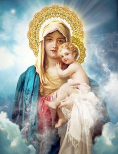 Virgin Mary with Child Jesus Catholic Art, Religious Art, Print wall decor, ready to frame by Sandra Lubreto Dettori Blessed Mother Mary, Divine Mother, Blessed Virgin Mary, Religious Pictures, Religious Icons, Religious Art, Jesus And Mary Pictures, Mary And Jesus, Hail Holy Queen