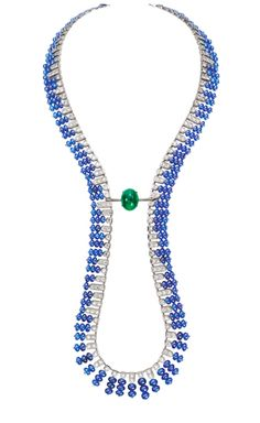 Boucheron Necklace of One Emerald Cabochon and Several Cabochon Cut Diamonds & Sapphires in Platinum.