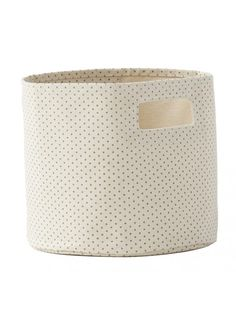 Petit Pehr Pin Dot Pint Storage Bin Grey // this would work great as an Eater basket and in a kid's or baby's room for after the holiday