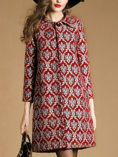 Shop Red Lapel Long Sleeve Jacquard Pockets Coat at ROMWE, discover more fashion styles online. Batik Fashion, Hijab Fashion, Boho Fashion, Fashion Dresses, Fashion Design, Fashion Coat, Couture Fashion, Iranian Women Fashion, Stylish Work Outfits