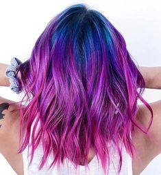 21 Unicorn Hair Color Ideas We're Obsessed With Blue to Pink Ombre Hair Blonde Ombre Hair, Brown Ombre Hair, Ombre Hair Color, Cool Hair Color, Purple Ombre Hair Short, Short Colorful Hair, Short Hair Colors, Crazy Colour Hair Dye, Galaxy Hair Color