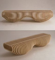 Svenstedt's Infinity Bench is a neat piece of engineering, CNC'd from furniture-grade plywood.Fredrik Svenstedt's Infinity Bench is a neat piece of engineering, CNC'd from furniture-grade plywood. Furniture Grade Plywood, Cardboard Furniture, Wooden Furniture, Furniture Plans, Cool Furniture, Furniture Design, Furniture Cleaning, Bench Furniture, Street Furniture