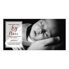 Joy & Peace - Christmas Wishes Photo - Red v3 Photo Card Template