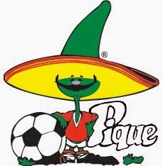 Pique – Mexico 86 Mascot - New Site Football Heads, Blue Football, Football Art, Germany Kit, Mexico 86, Mexico Soccer, Cup Logo, Vintage Banner, Manchester United Football