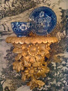 Wonderful old bracket shelves are great in decorating accents. Beautiful vignette featuring transferware on toile. Blue And White China, Love Blue, Objet D'art, French Decor, Blue Accents, White Decor, Chinoiserie, White Porcelain, Vignettes