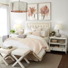 126 bedroom decor ideas a romantic master bedroom makeover 11 Coastal Bedrooms, Shabby Chic Bedrooms, Modern Bedroom, Contemporary Bedroom, Bedroom Romantic, Blush Bedroom, Trendy Bedroom, Girls Bedroom, Bedroom Decor