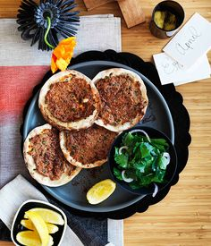 Lahmacun - this recipe uses lamb, but I'd like to sub a different meat. This reminds me of something I have tried at Marina's house when I was young.