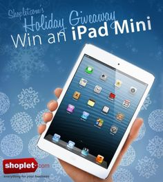 Check out Shoplet.com's Holiday Giveaway! Here's how to win: 1) Repin this pin 2) Then, go to our blog http://blog.shoplet.com/giveaways/ipad-mini-giveaway-thanks-to-our-readers/ and leave a comment about which Shoplet product you want most this year.