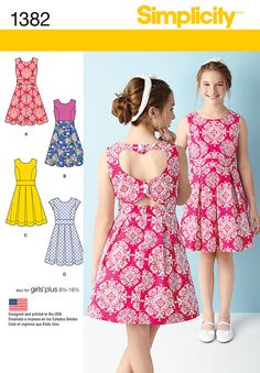 Sew a Girls' or Girls' Plus dress featuring a heart cutout back and contrast skirt option or sleeveless or short sleeved with triangle cutout. DIY with Simplicity pattern 1382.