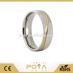 POYA Jewelry 6mm Titanium wedding Ring Gold Grooved Wave Pattern for Men