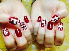 Christmas nails art#sweater nails art#gel polish @ Ocean Nails & Spa, FWB, FL.