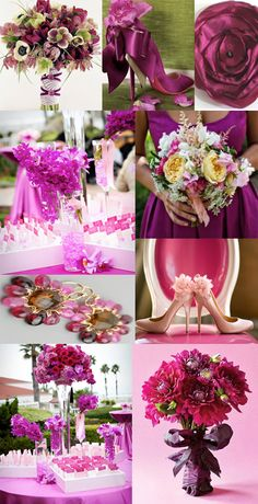 Magenta Grey Black  - Wedding Colors