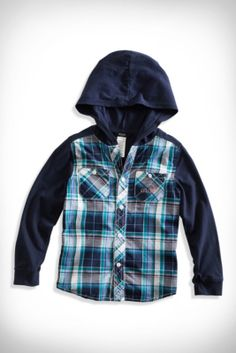 Little Boy Hawk Mixed-Media Hoodie Shirt (2-7) | guess kids