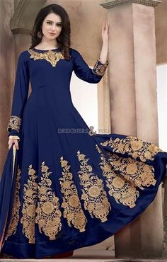 Get This Delicately #Contrast #Embroidered Blue #Designer #Long #Anarkali #Gown. This #SemiStitched #Georgette Pleated #Salwar#Suit Acquires Round Neck & Full Sleeves. Diamond Work & Contrast Embroidery Are Accentuate The Beauty Of It For Reception. #Designers#And#You