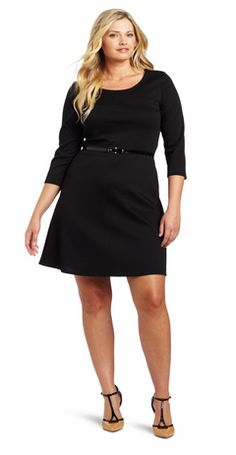 sometimes cute. plus size clothes can be hard to find without paying a ton. This dress is perfect! Plus-Size Long Sleeve Ponte Skater Dress with Belt
