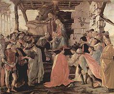 De aanbidding door de drie koningen 1475  ( Sandro Botticelle ) afgebeeld de familie De Medici geknield Cosimo, op de rug gezien in gesprek Piero en Giovanni -