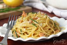 Smoked Salmon Carbonara :: Home Cooking Adventure