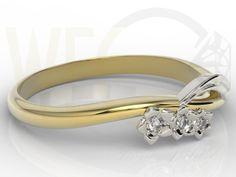Pierścionek z białego i żółtego złota z diamentami / Ring made from white and yellow gold with diamonds / 772 PLN #diamonds #gold #ring #jewellery #jewelry