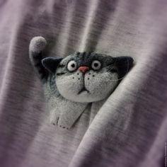 """Купить Валяная брошь """"Кот"""" - брошь, валяная брошь, кот, котик, кошка, котенок"""