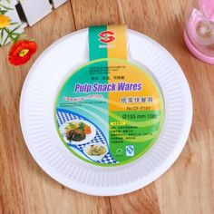 """Biodegradable Disposable Plate 6"""" Pulp Snack Plate Water&Oil Proofing Eco-Friendly"""