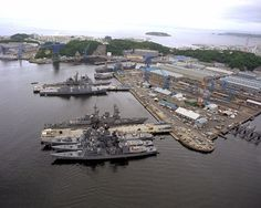 Yokosuka, Japan. Aerial view of U.S. Naval Base. Yes, I want to go here, but only a few people will understand why :)
