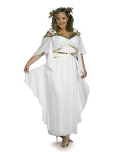 Description Model Roman Goddess Adult Costume Perfect for your Roman Noble or Greek goddess! Costume includes: White flowing toga style dress with gold accents, and headpiece. Available Size: Plus Size Shoes not included. Adult Costumes, Costumes For Women, Halloween Costumes, Adult Halloween, Easter Costumes, Greek Costumes, White Costumes, Spirit Halloween, Halloween Stuff