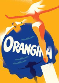 Image of Mads Berg 'Orangina Ad' Art Deco Danish Poster Vintage Advertising Posters, Vintage Advertisements, Vintage Ads, Vintage Posters, Creative Advertising, Berg Illustration, Graphic Design Illustration, Magazine Illustration, Creative Illustration