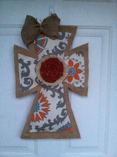 Large Burlap and Gray printed Cross with by AmberlynsDoorDecor, $25.00