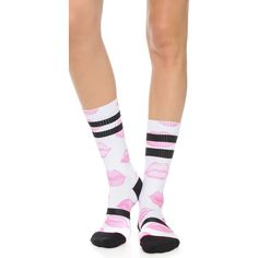 Stance Athletic Hey Lover Socks - Pink featuring polyvore, fashion, clothing, intimates, hosiery, socks, pink socks, stripe socks, striped socks, pink striped socks and ribbed socks