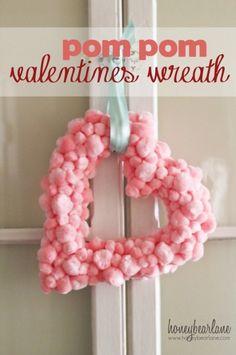 Make a Pom-Pom Heart Wreath