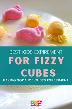 Fizzy cubes: Baking soda ice cubes experiment for Toddler indoor activities.