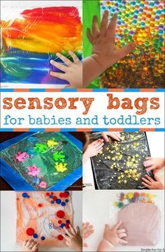 Sensory Bags for Babies and Toddlers - Sensory bags are a wonderful mess-free sensory activity where all of the fun happens in a bag. This makes it safe for babies and toddlers . Infant Sensory Activities, Baby Sensory Play, Toddler Learning Activities, Preschool Activities, Baby Sensory Bags, Sensory Wall, Diy Sensory Toys For Babies, Sensory Activities For Toddlers, 7 Month Old Baby Activities