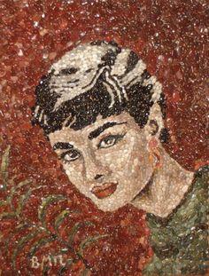 Audrey Hepburn by Vaso Bassoukou-Papageorgiou Audrey Hepburn, Female Art, Mosaics, Stained Glass, Artists, Painting, Women, Woman Art, Painting Art