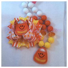 Candy Corn Boutique Bow and Chunky Necklace Set by BanglesnBows, $25.00