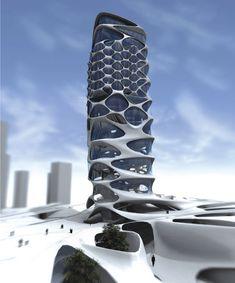 skyscraper designed by international artist / Zaha Hadid in collaboration with the designer Patrik Schumacher