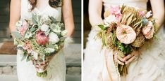 13- onelove photography/True Emerald Styling & Planning/Laughin' Gal Floral via 100 Layer Cake; 14- The Full Bouquet/Katie Stoops/Events In The City | protea wedding bouquets #wedding #protea