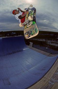Caballero. Lien air tweek on the vert ramp in Virginia beach, Virginia.  Photo by Geoff Graham. 1989