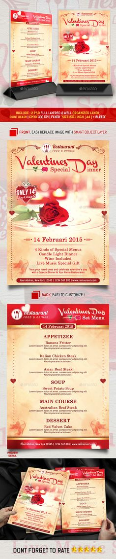 Valentines Menu Special Dinner Promotion Flyer Template #design Download: http://graphicriver.net/item/valentines-menu-special-dinner-promotion/10156520?ref=ksioks