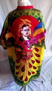 The back of the Frida Kimono featuring an image of Sue Kreitzman's Frida shrine. Hand painted, hand made and appliqued by Diane Goldie