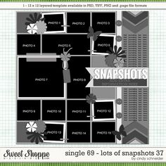 Cindy's Layered Templates - Single 69: Lots of Snapshots 37 by Cindy Schneider - Putting a stripe on the side, as seen on the right here, would be a good way to fill space if you want to use a square template on a wider layout such as an 8x11 calendar page.