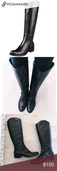 "Via Spiga Cody riding boots ""Via Spiga takes its name from a legendary street in Milan."" These boots have a feel of amped up femininity. Extremely soft leather! super nice! leather, knee high, size 8 1/2, 1 1/2' heel, 17'L from the top of boot to bottom of heel. My pre owned boots! Love them❤️comfortable too! some very mild bottom sole wear. Insoles are clean & insides are clean and look great! Kept very nice!Offers welcome✌🏼no trades thank you. Retail $300 Via Spiga Shoes Over the Knee…"